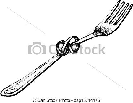 Drawn fork  Illustration vector fork twisted