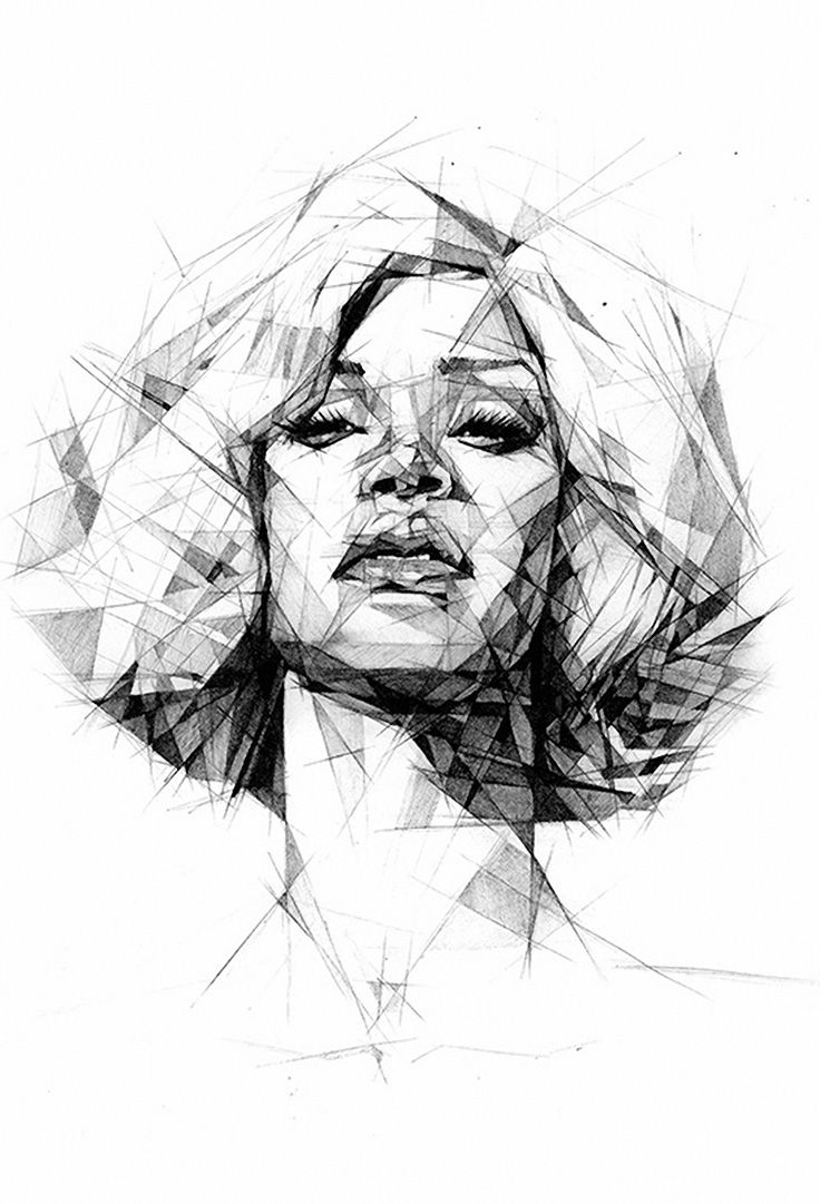 Drawn portrait geometric Geometric Geometric