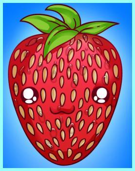 Drawn strawberry strawberry fruit Games Coloring  Chibi :