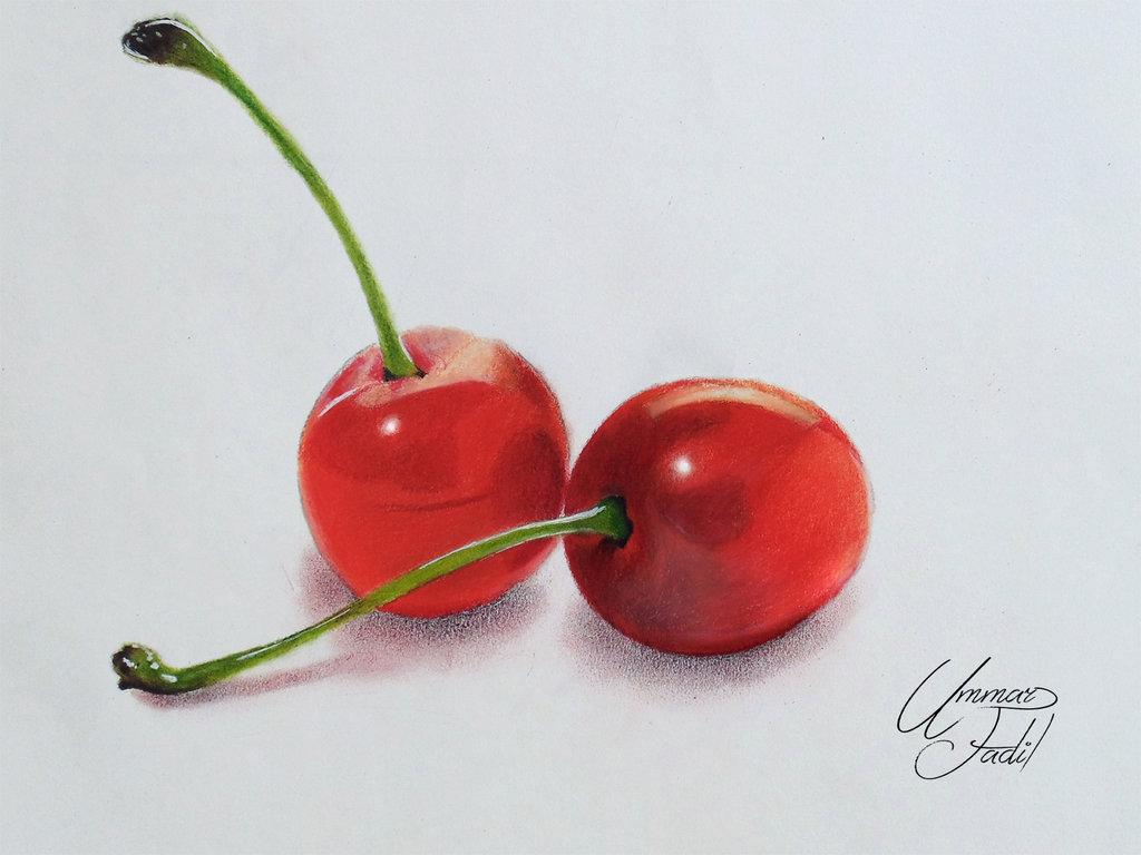 Drawn still life cherry F Cherries DeviantArt Drawing Cherries