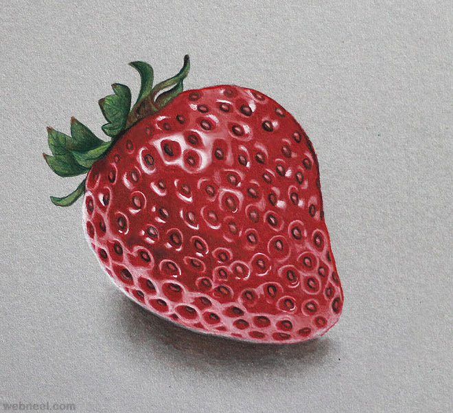 Drawn strawberry color pencil And by Video fruit Stunning