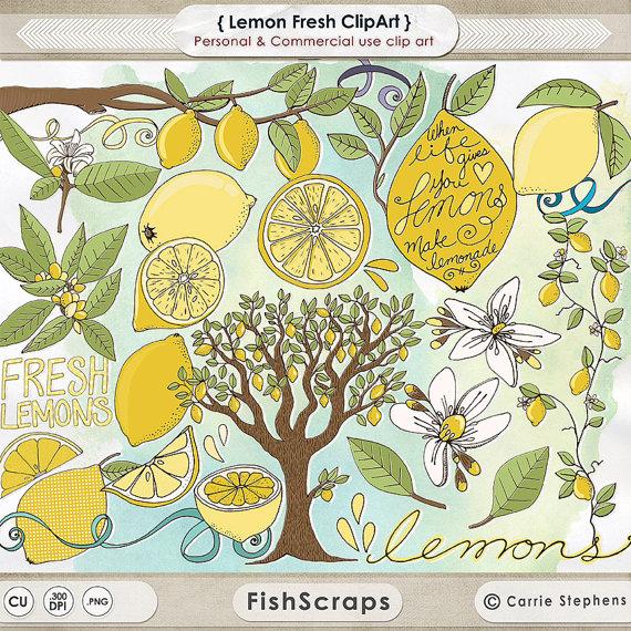 Branch clipart drawn ClipArt Lemon Il_570xn Flowers Lemon