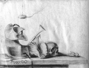 Drawn still life kettle Aelst & vellum on chalk