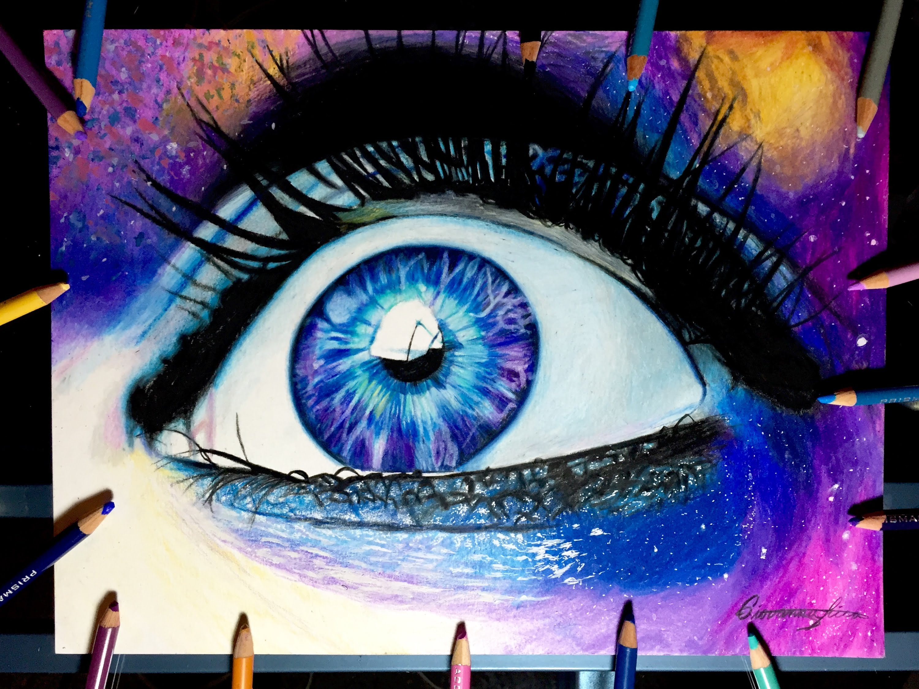 Drawn galaxy Timelapse eye galaxy drawing drawing