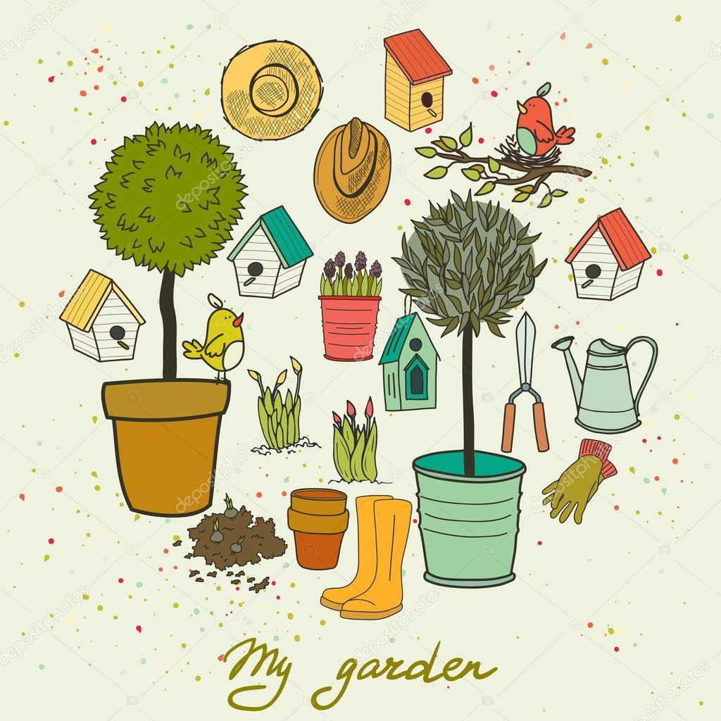Drawn garden — tools Vector Hand #59289499