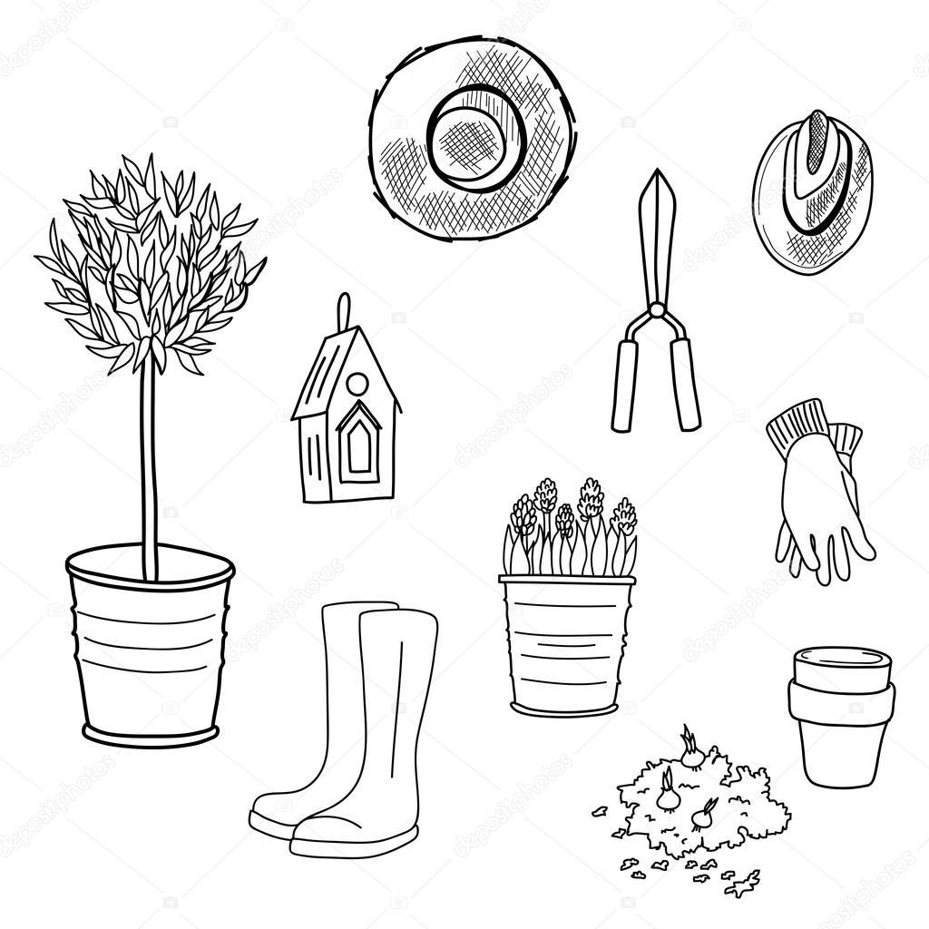 Drawn garden — tools Vector Hand #59289247