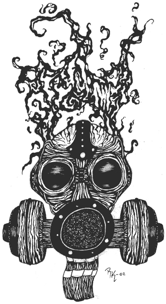 Drawn gas mask abstract #15