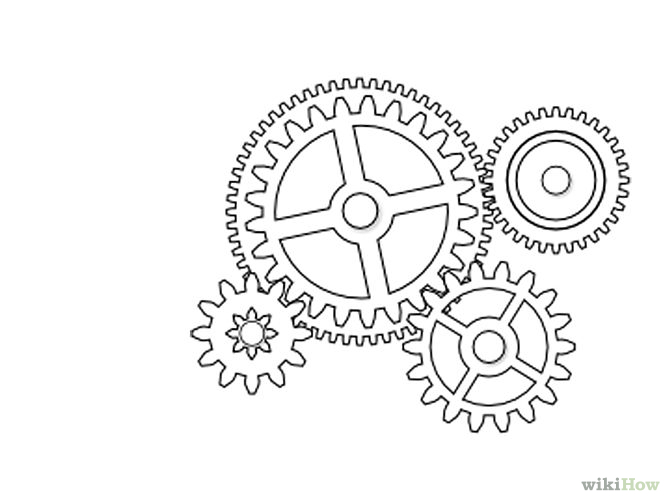 Drawn gears Mechanical Inkscape Gears 3 in