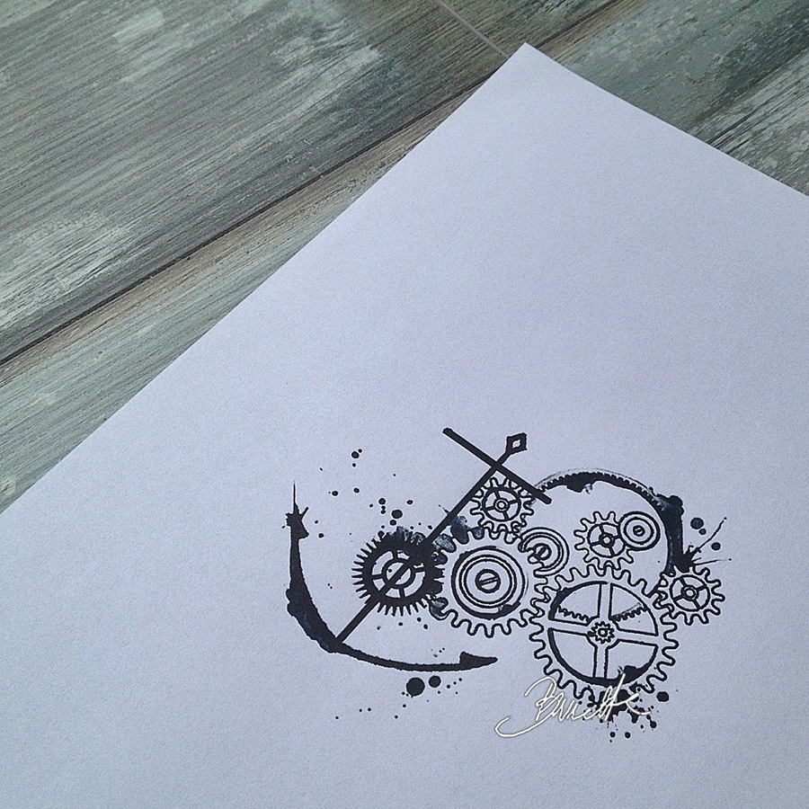 Drawn gears abstract #11