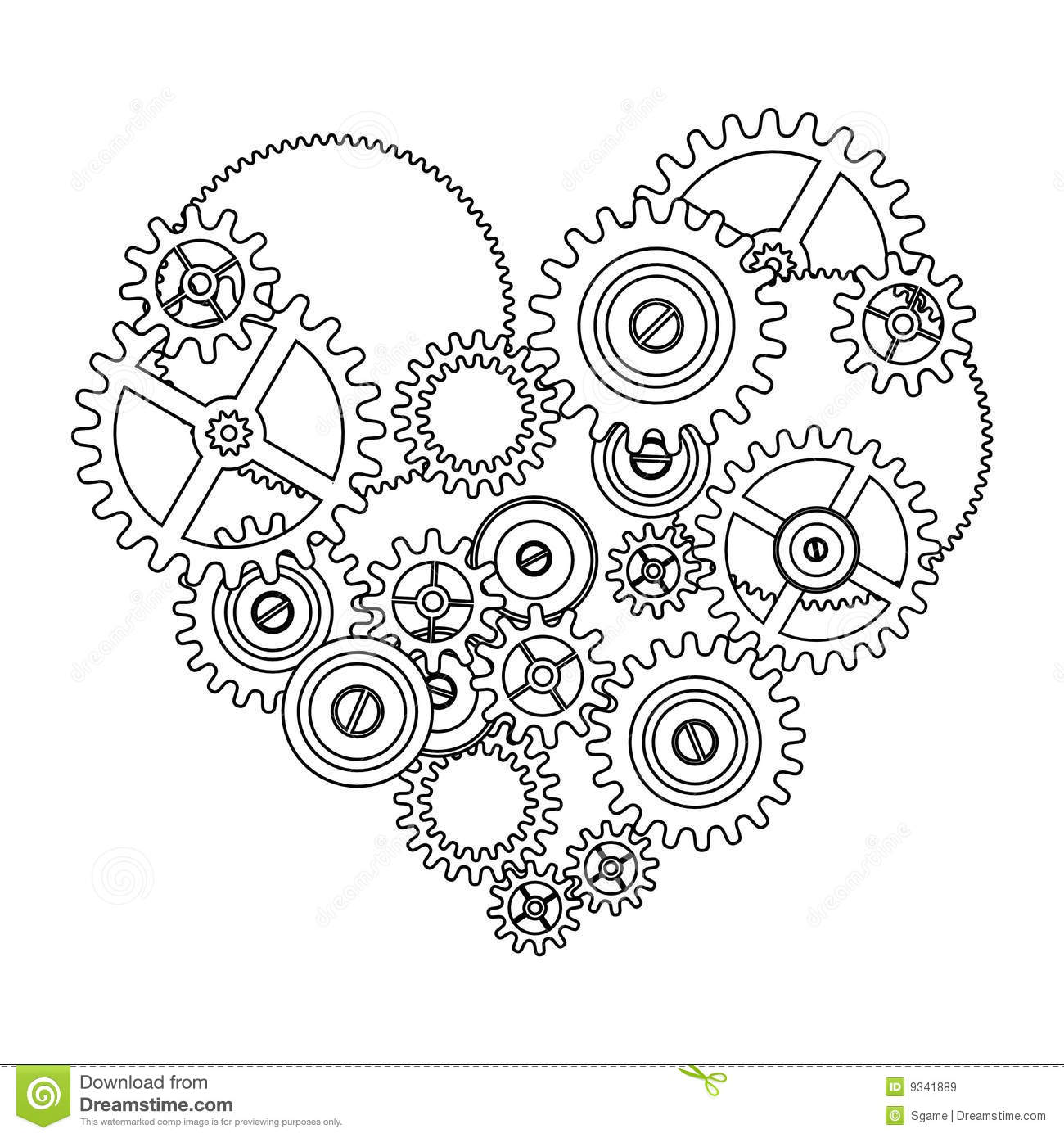 Drawn gears Drawing coloring Gears Find Mechanical
