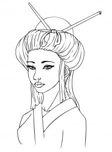 Drawn geisha Girl Geisha People a by