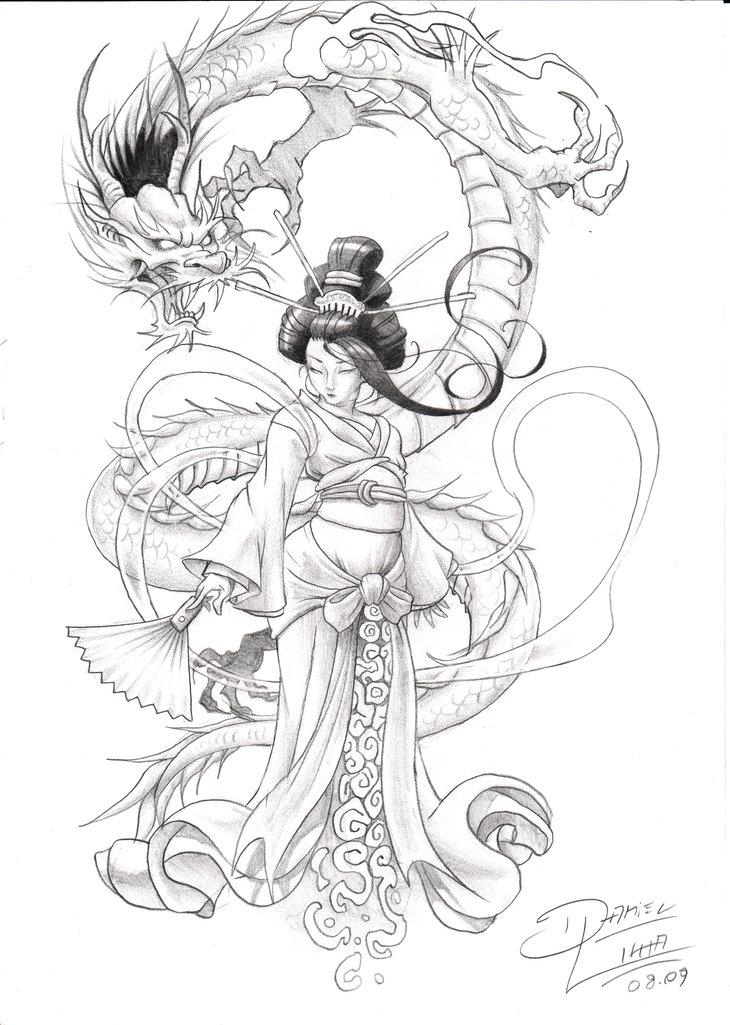 Drawn geisha DeviantArt Tattoos lima  Oni