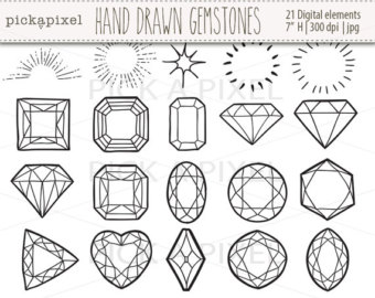Drawn gems Art outlines in Gemstones Clipart