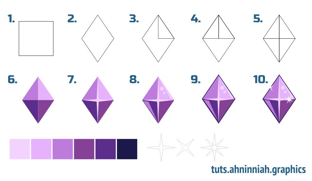 Drawn star basic Gem to draw Inkscape Purple