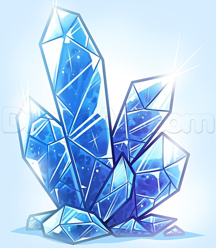 Drawn crystals How draw Step Draw to