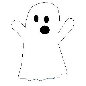 Drawn ghost Color me!) cartoon in ghost