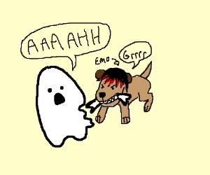Drawn ghostly emo Shreds rips to ghost by