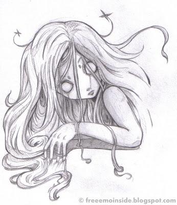 Drawn ghostly emo Sketch Pencil Girl EMO Scary
