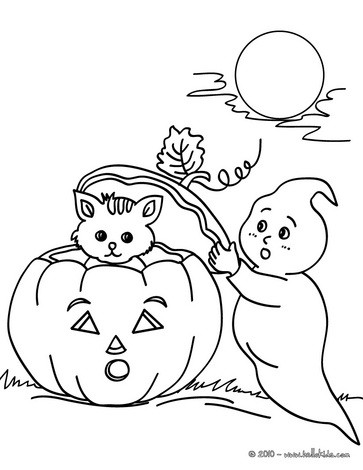 Drawn ghostly halloween coloring Online coloring to HOLIDAY coloring