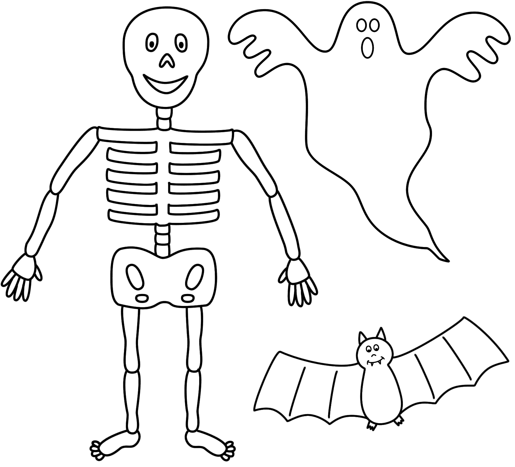 Drawn ghostly halloween coloring Collections Skeleton Halloween (08)
