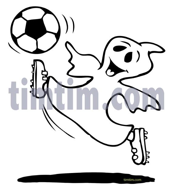 Drawn ghostly happy cartoon BW soccer ghost the Cartoon