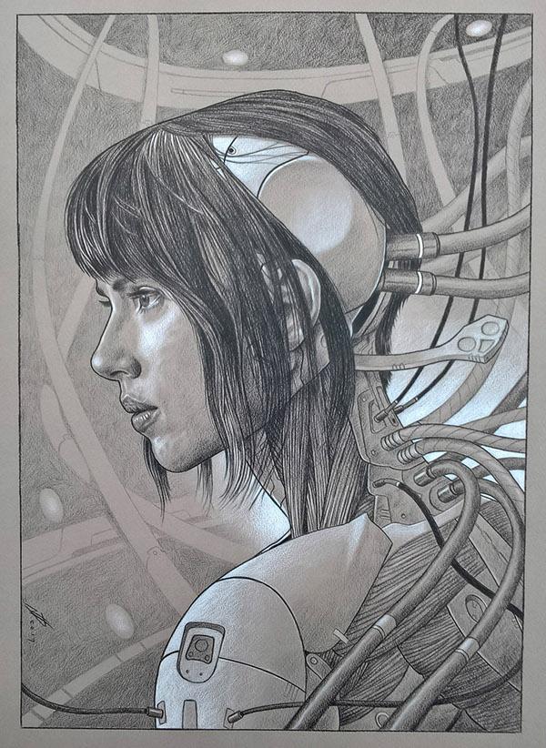 Drawn ghostly shell Scarlett portrait Shell In Ghost