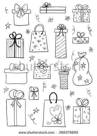 Drawn gift Boxes birthday Set sketch gift