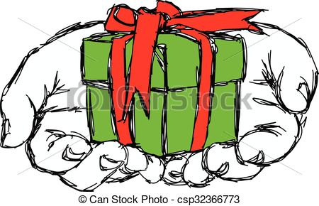 Drawn gift Illustration receiving Vector sketch of