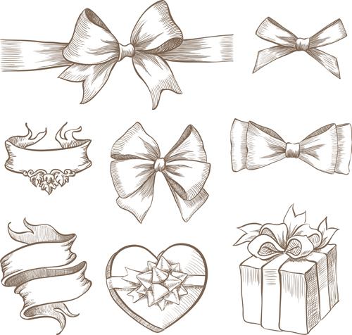 Drawn ribbon silhouette  Hand+Drawn+Bow EPS bow file