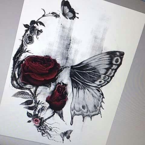 Drawn butterfly skull rose Ideas best Pinterest tattoos 25+
