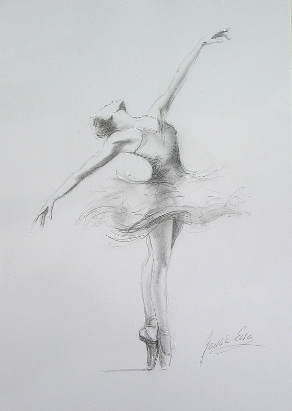 Drawn ballerine female dancer Paper 12 Drawing pencil Dancing
