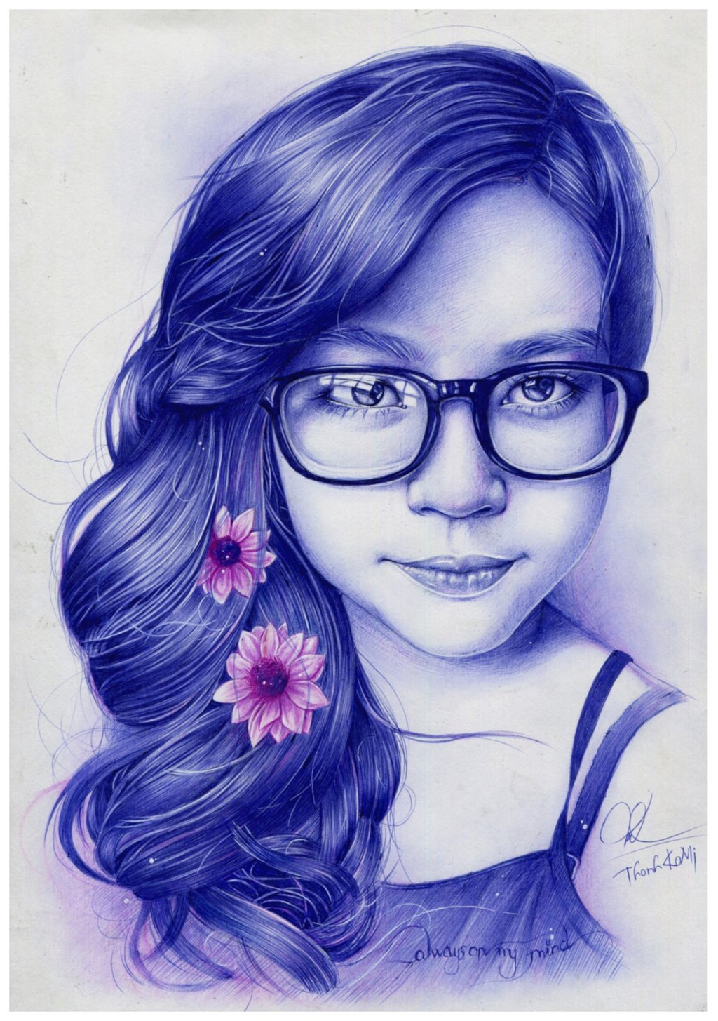 Drawn portrait ballpoint pen 0 drawing 3lineclaw VianaArts my