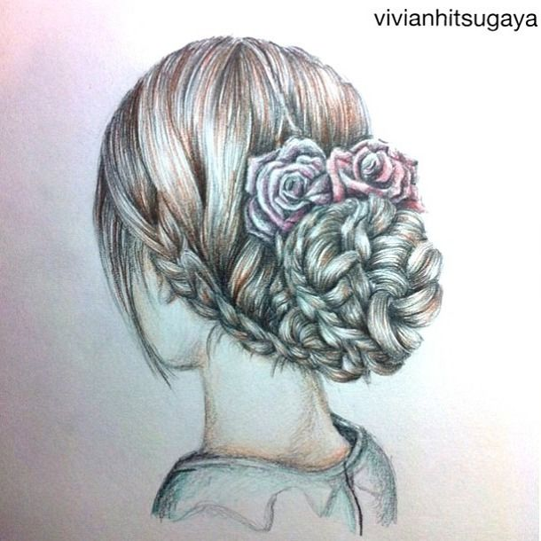 Drawn braid pencil drawing To draw braids beautiful Pinterest