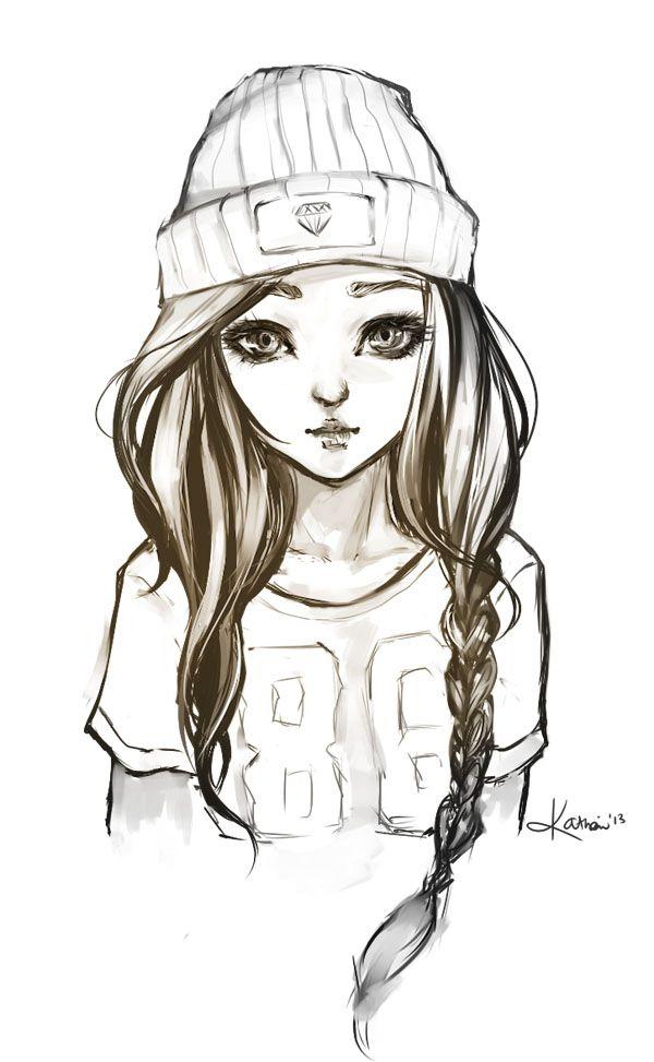 Drawn little girl teenager Drawings ideas Pinterest Girl on
