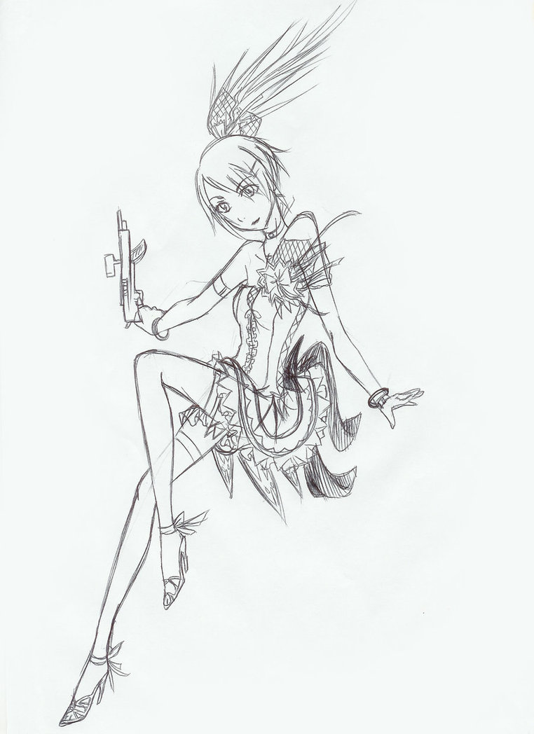 Drawn gun illustration A gun by girl anime