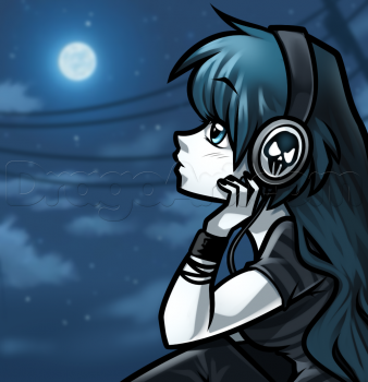 Drawn headphones With Girl with How How