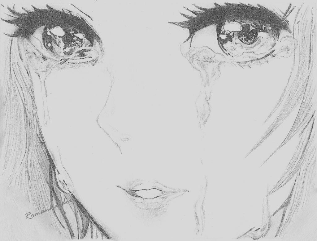 Drawn sad anime Picture Cartoon Girl Sketch Tumblr