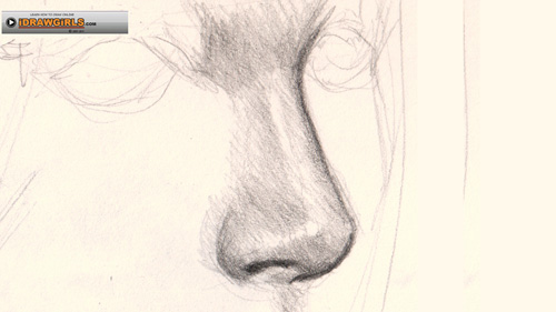 Drawn profile nose Nose draw and How drawing