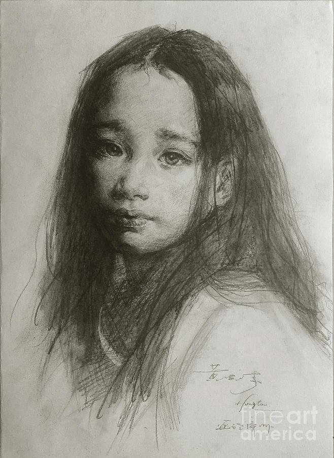 Drawn portrait beautiful woman Art Pencil  Beautiful Girl