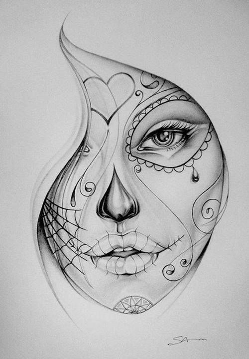 Drawn sugar skull pencil drawing Of pages on SketchFace the