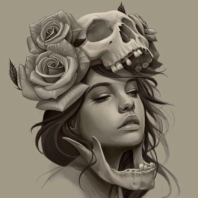 Drawn rose girly skull 25+ Pinterest tattoo skull ideas