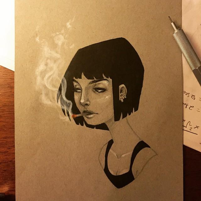 Drawn cigarette Girl older version my #allmypostsarethesame