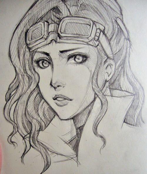 Drawn goggles retro Draft #sketch on Woman drawing