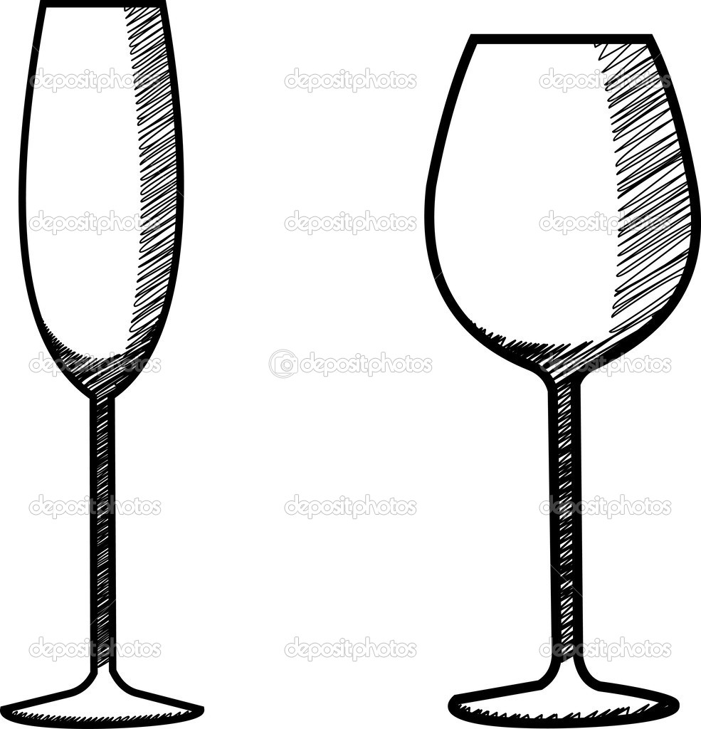 Drawn amd glass Champagne illustration collection stock glass