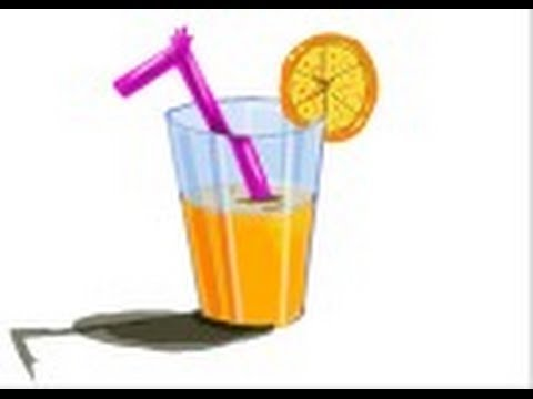 Drawn glasses glass juice Orange How a draw of