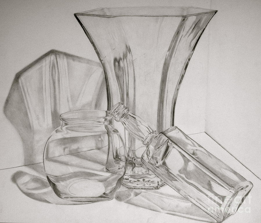 Drawn glass glass vase Examples with Pencil glass Drawing