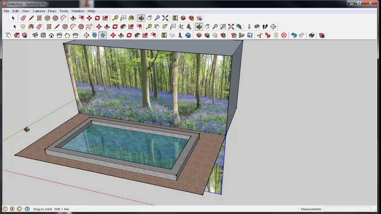 Drawn glass mirror reflection SketchUp: Reflection or Water Reflection