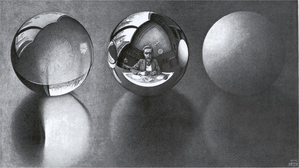Drawn glass mirror reflection Threespheres pitchblack
