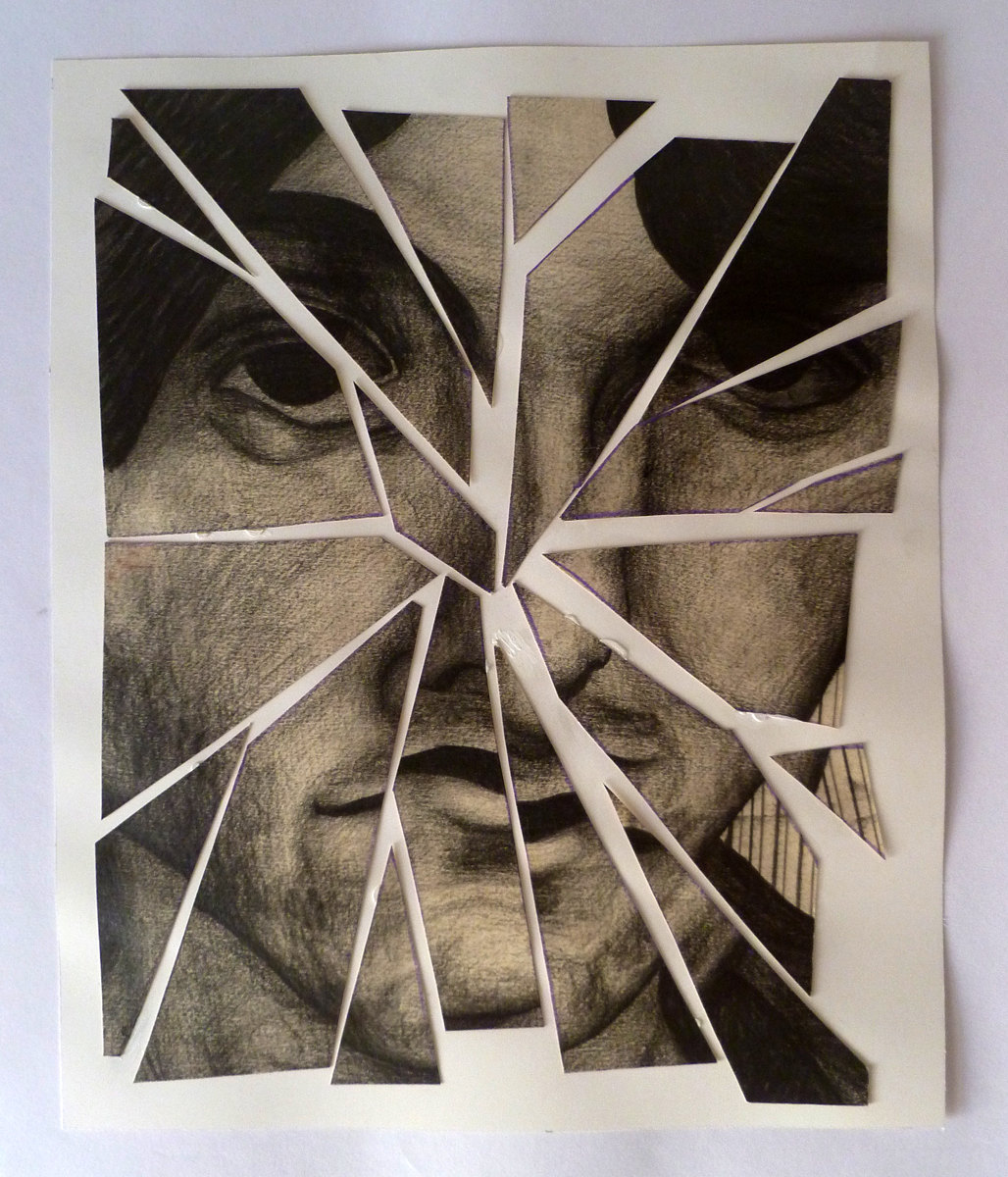 Drawn glass mirrored Broken Broken drawing final portrait