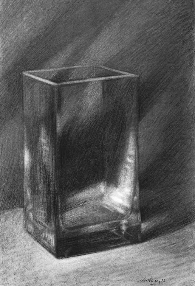 Drawn glass rectangular Glass Three of Shading drawing